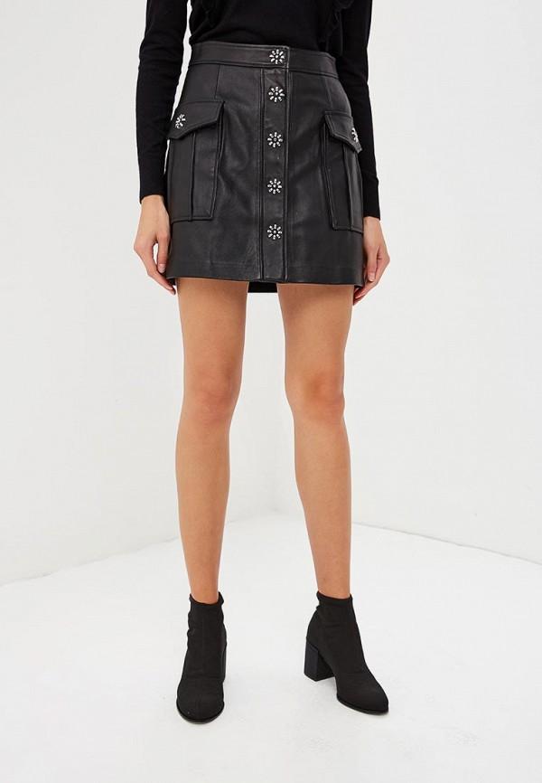 женская кожаные юбка michael kors, черная