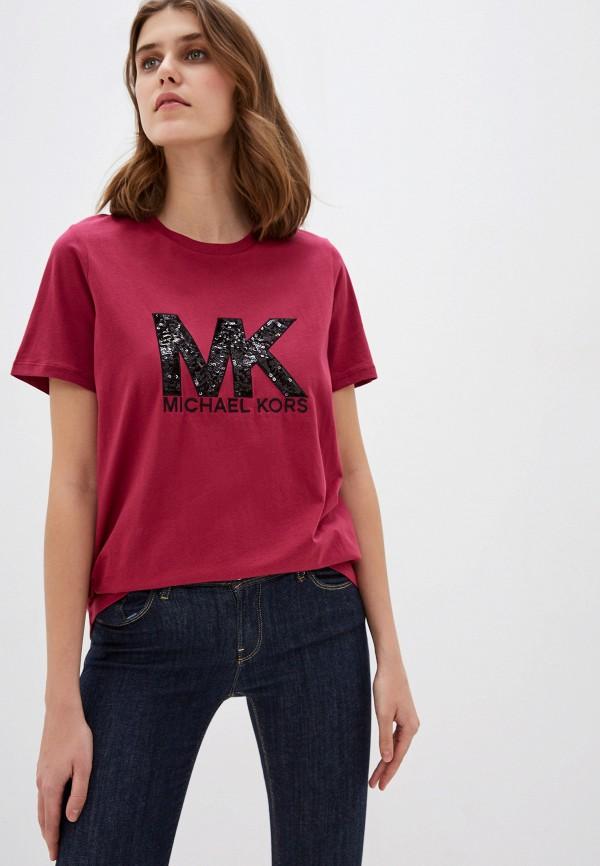женская футболка michael kors, бордовая
