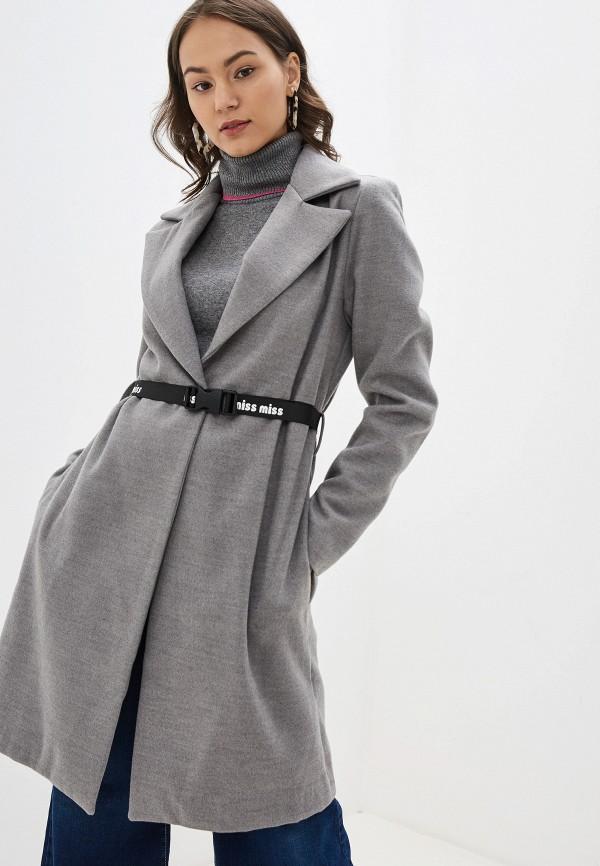 женское пальто miss miss by valentina, серое