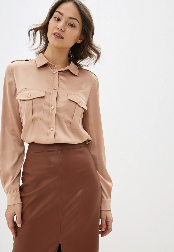 женская рубашка с длинным рукавом miss miss by valentina, бежевая