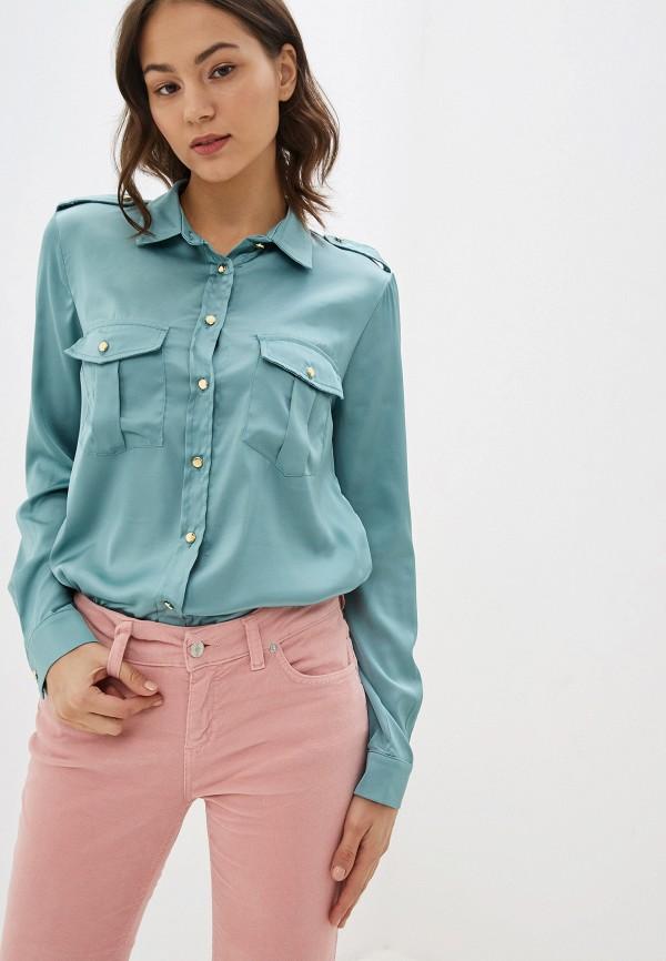 женская рубашка с длинным рукавом miss miss by valentina, бирюзовая
