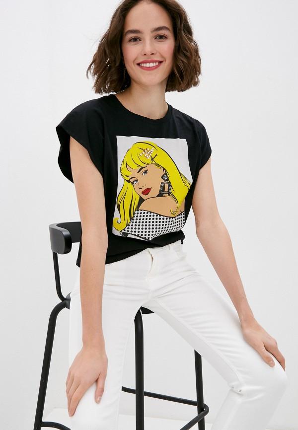 женская футболка miss miss by valentina, черная