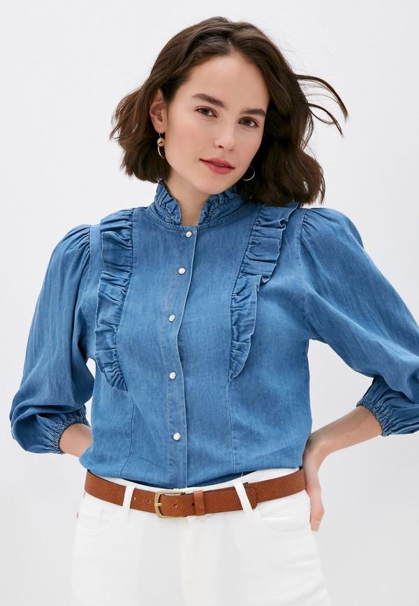 женская джинсовые рубашка miss miss by valentina, синяя