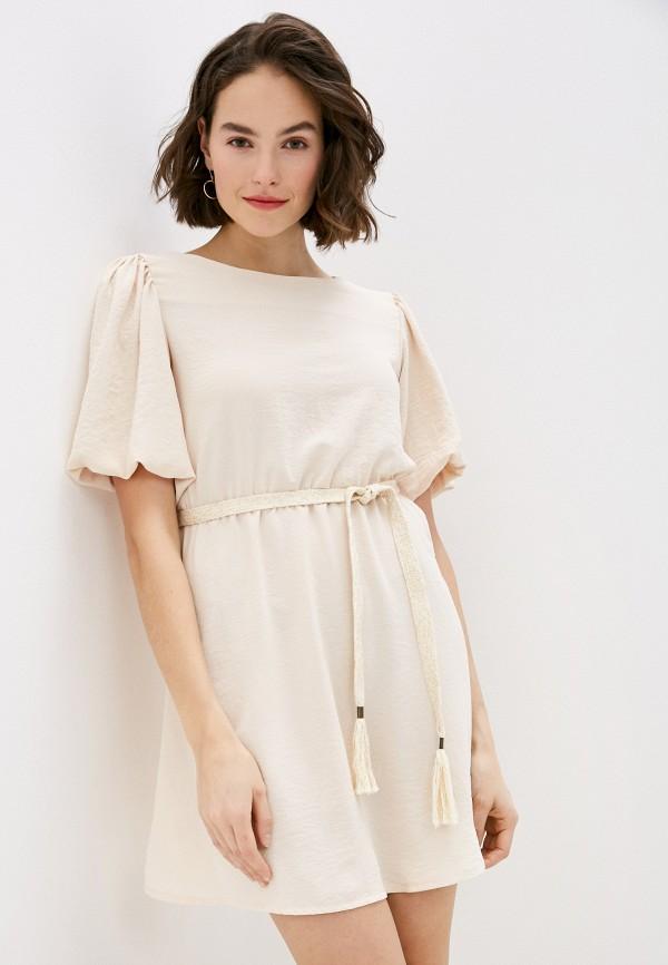 женское повседневные платье miss miss by valentina, бежевое
