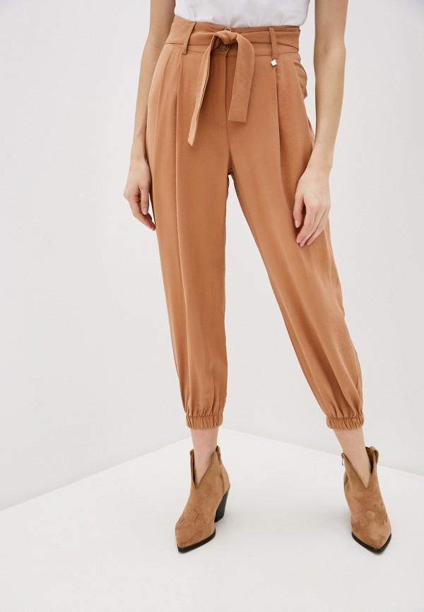 женские повседневные брюки miss miss by valentina, коричневые