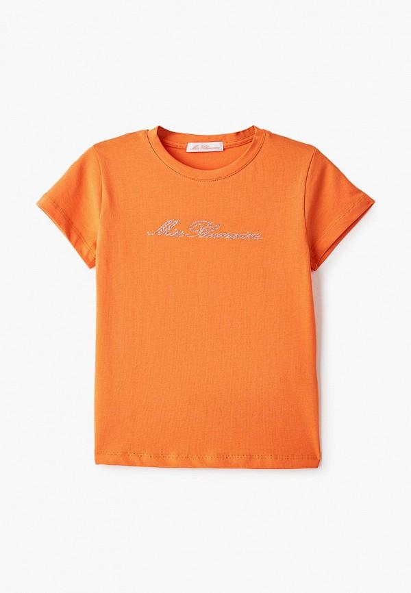 футболка с коротким рукавом miss blumarine для девочки, оранжевая