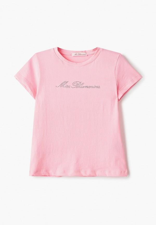 футболка с коротким рукавом miss blumarine для девочки, розовая