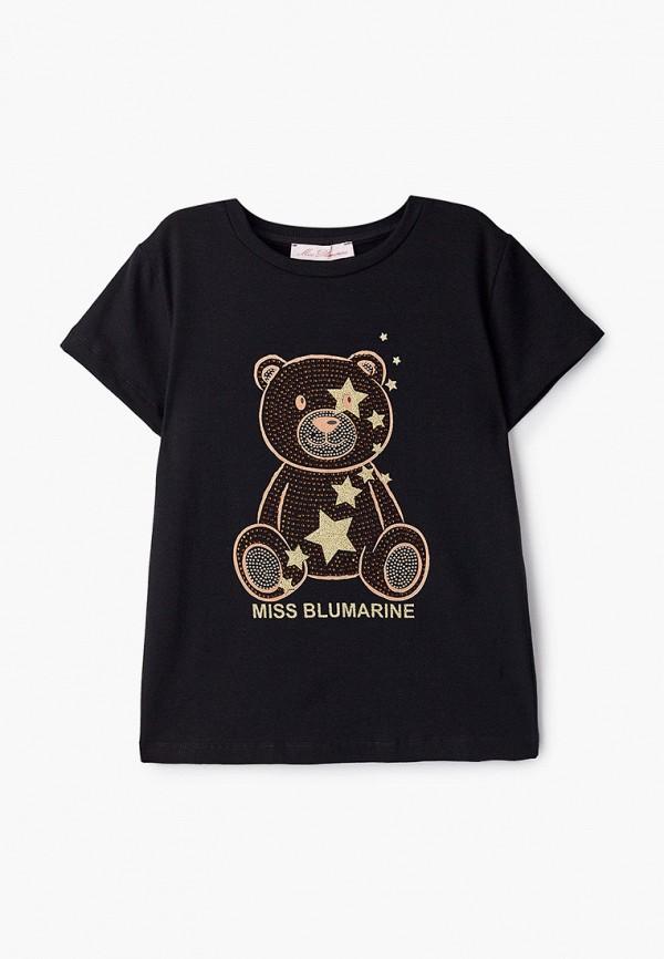 футболка с коротким рукавом miss blumarine для девочки, черная