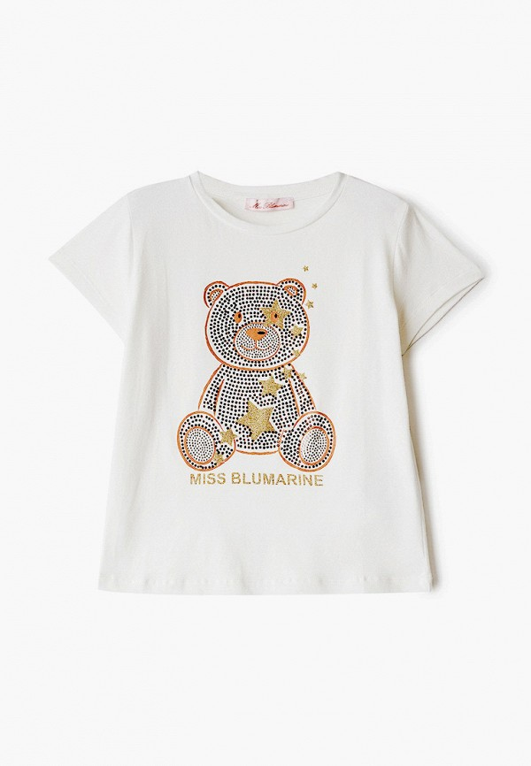 футболка с коротким рукавом miss blumarine для девочки, белая