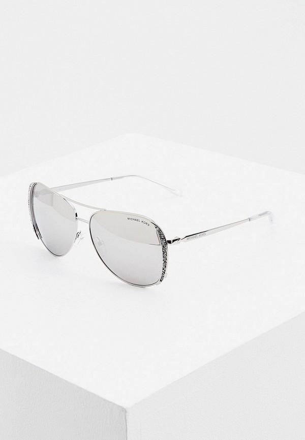 женские авиаторы солнцезащитные очки michael kors, серебряные
