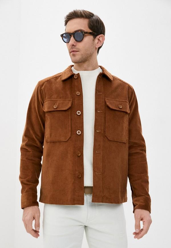 мужская рубашка с длинным рукавом michael kors, коричневая