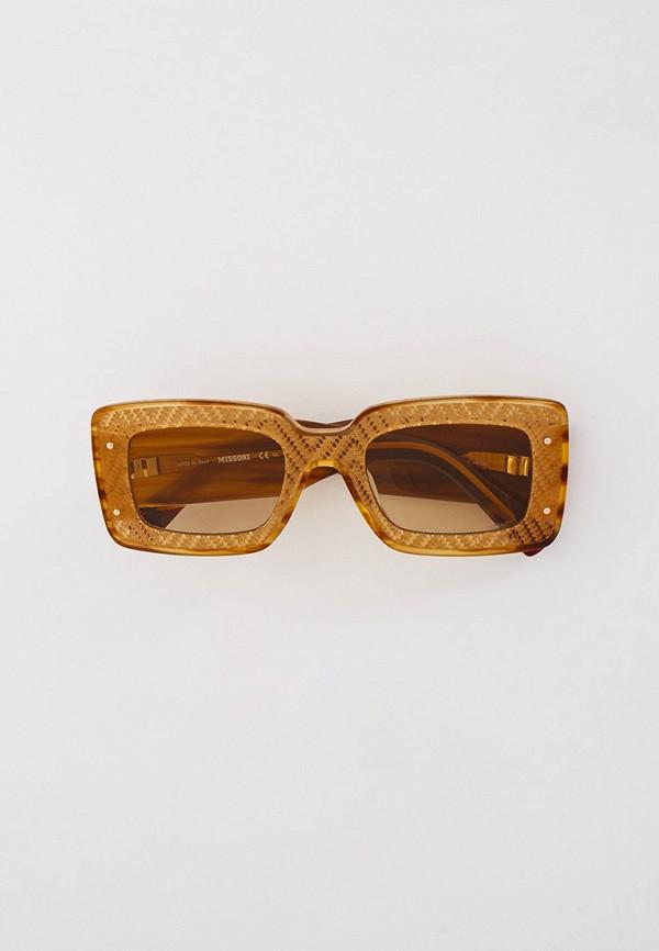 женские квадратные солнцезащитные очки missoni, бежевые