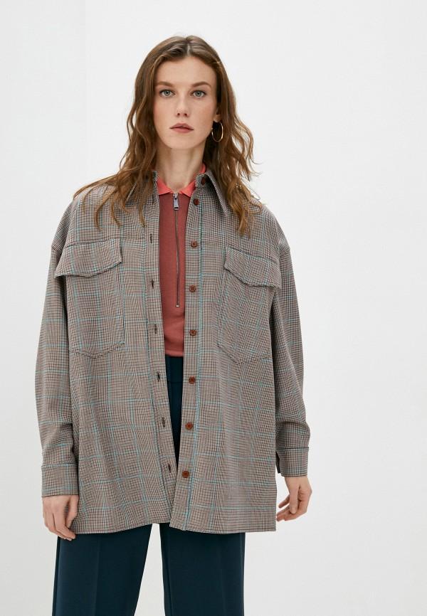 женская рубашка с длинным рукавом missoni, коричневая