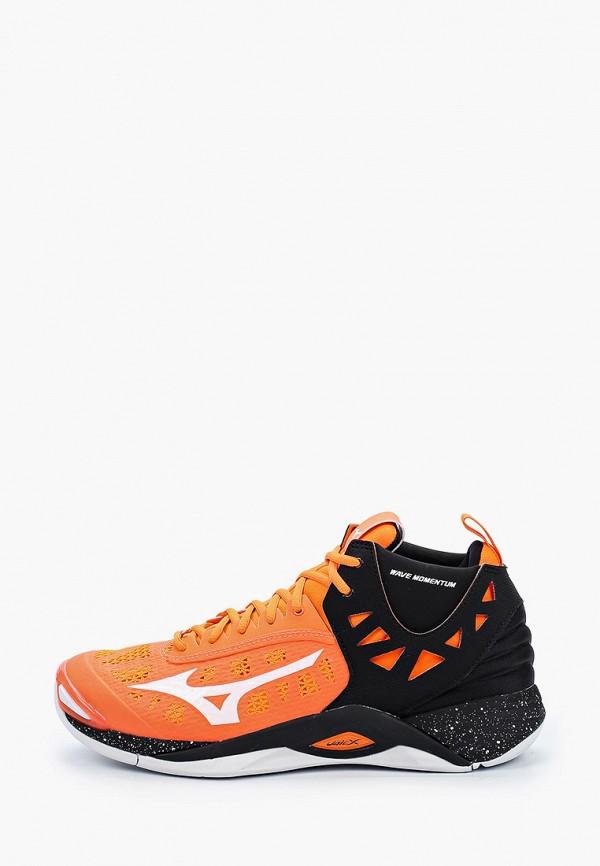 мужские высокие кроссовки mizuno, оранжевые