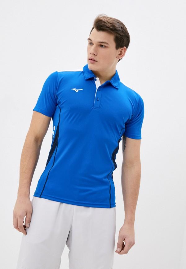 мужское поло mizuno, синее