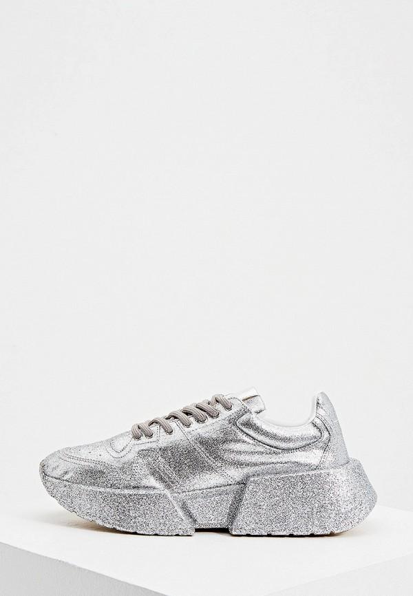 женские кроссовки mm6 maison margiela, серебряные