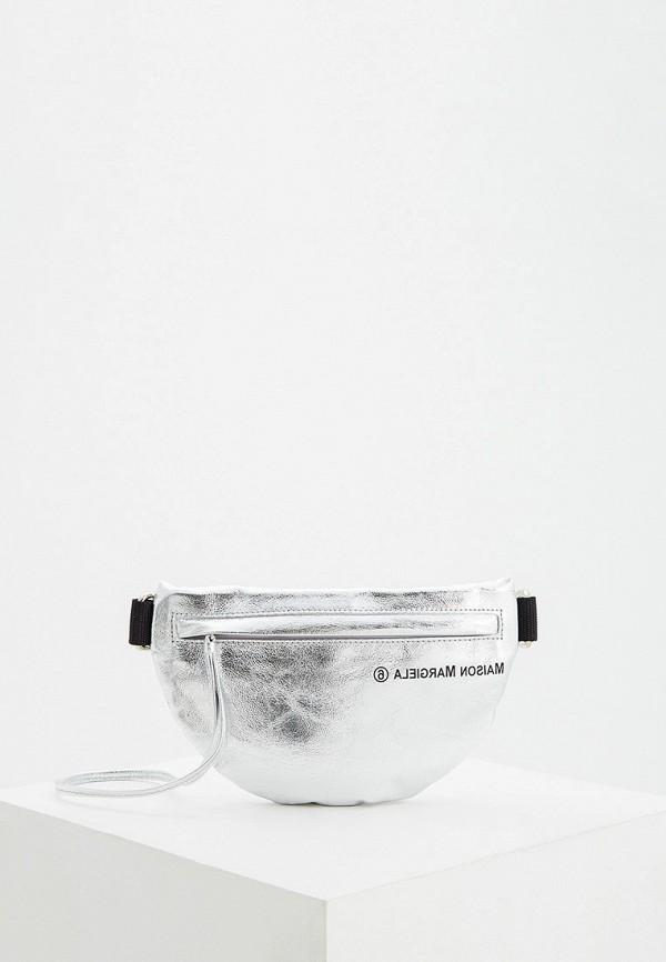 женская сумка mm6 maison margiela, серебряная