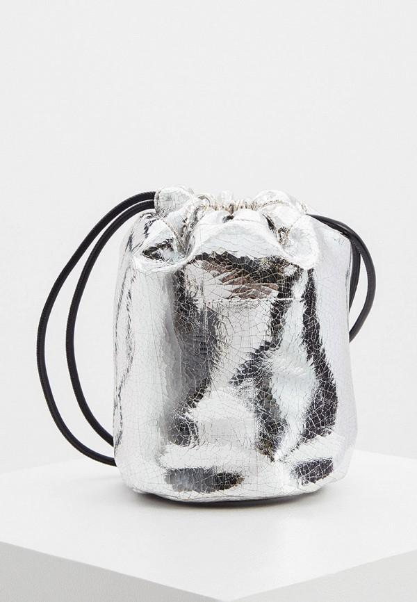 женская сумка-ведро mm6 maison margiela, серебряная
