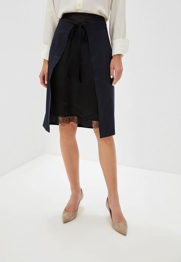женская прямые юбка mm6 maison margiela, синяя