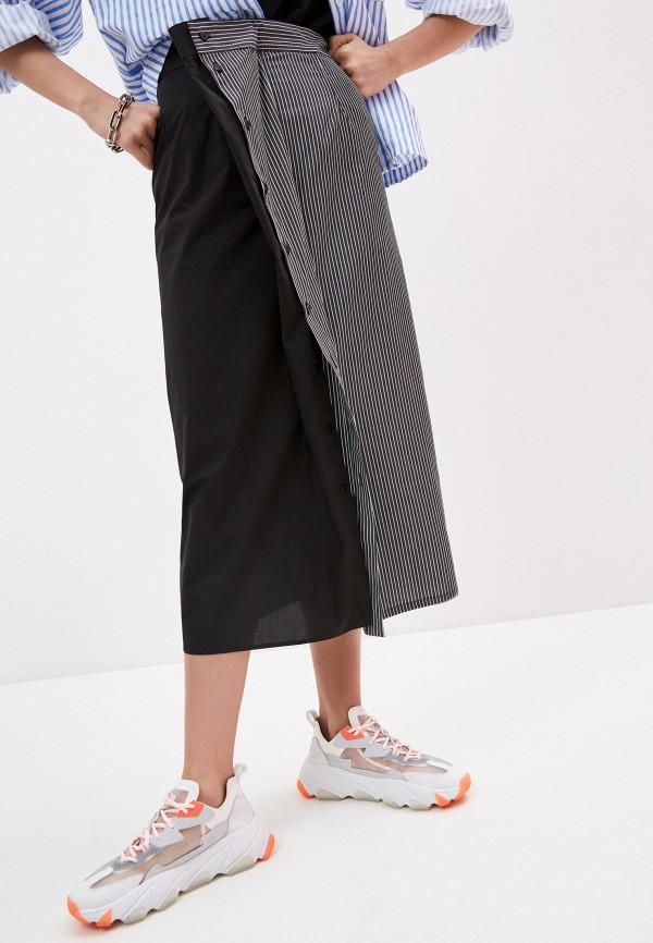 женская прямые юбка mm6 maison margiela, черная