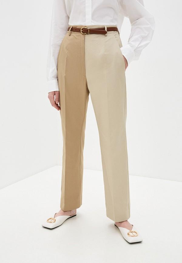 женские повседневные брюки mm6 maison margiela, бежевые