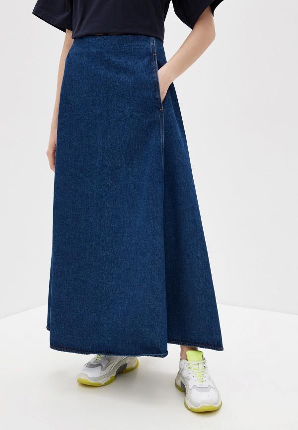 женская юбка mm6 maison margiela, синяя