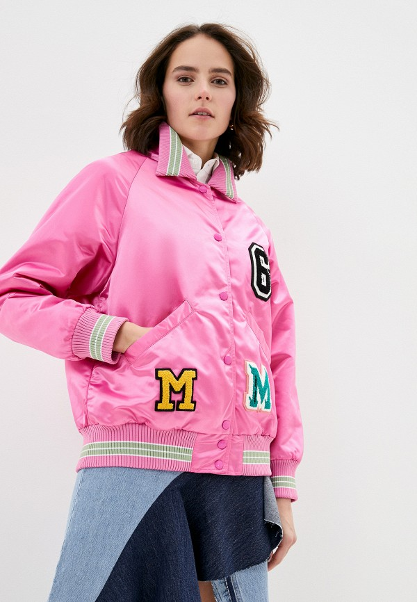 женская куртка mm6 maison margiela, розовая