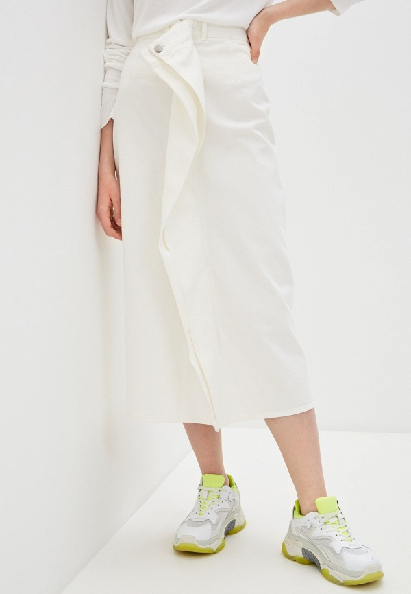 женская джинсовые юбка mm6 maison margiela, белая