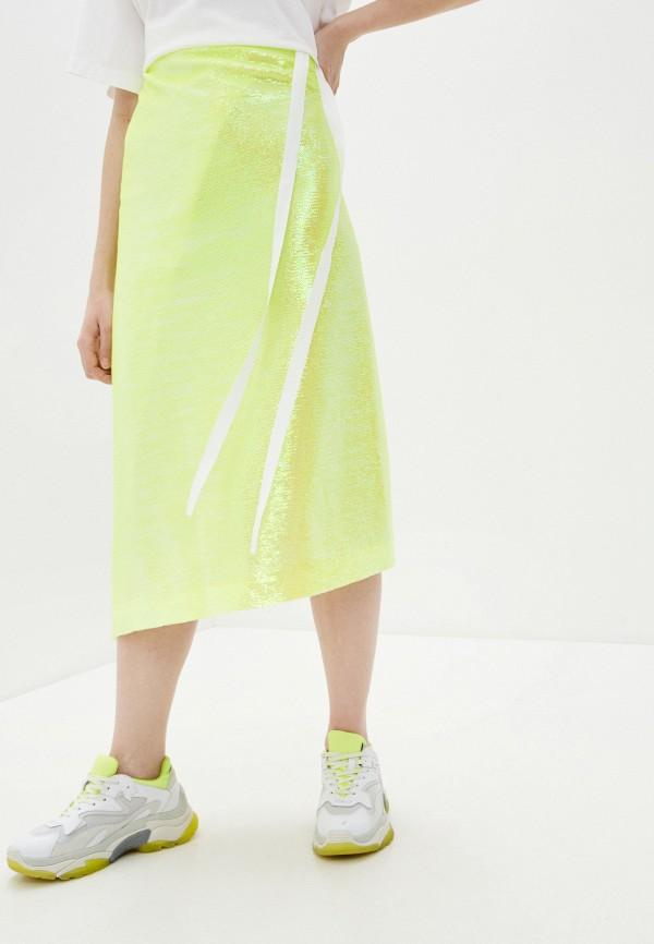 женская прямые юбка mm6 maison margiela, желтая