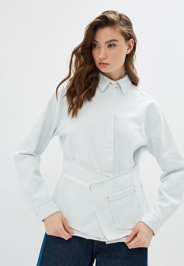 женская джинсовые рубашка mm6 maison margiela, голубая