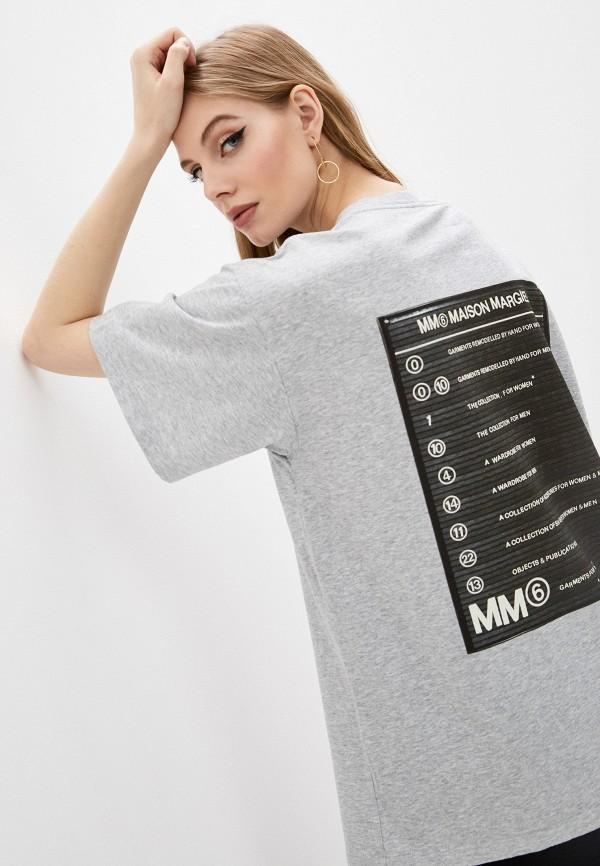 женская футболка mm6 maison margiela, серая