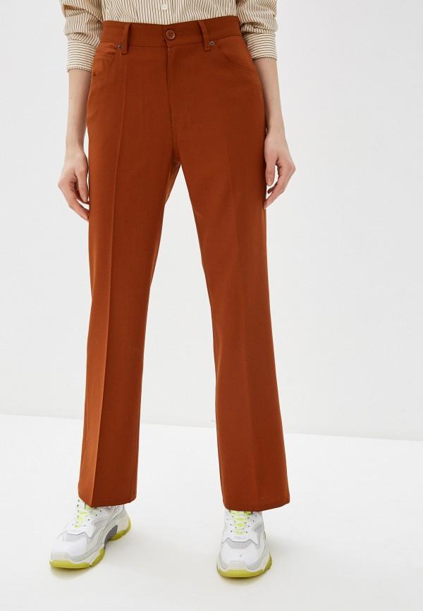 женские классические брюки mm6 maison margiela, коричневые