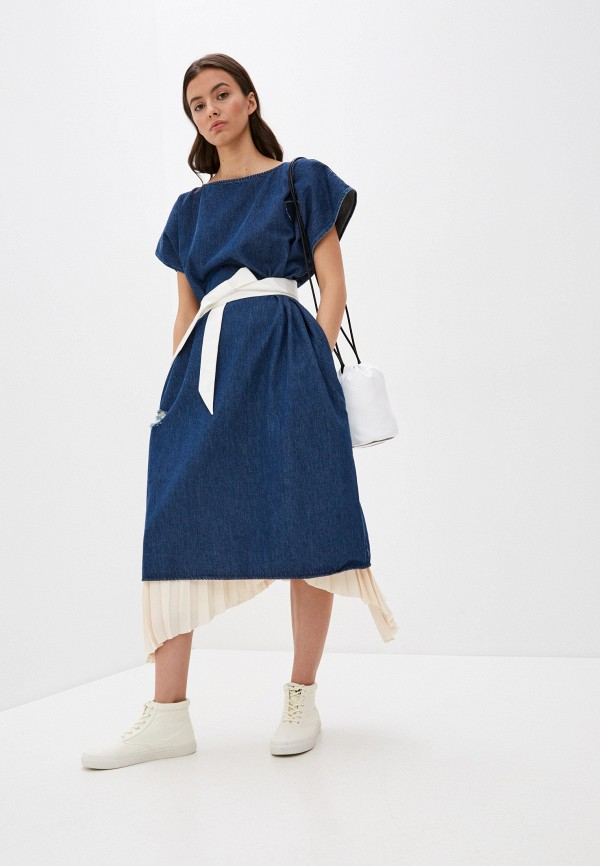 женское джинсовые платье mm6 maison margiela, синее