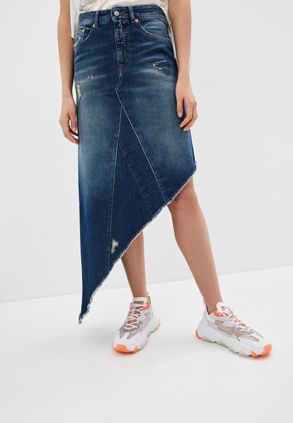 женская джинсовые юбка mm6 maison margiela, синяя