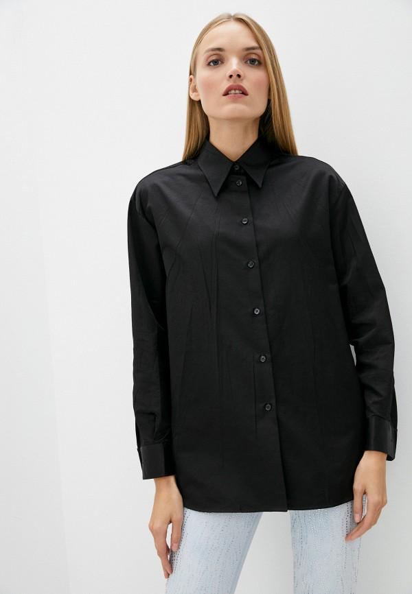 женская рубашка с длинным рукавом mm6 maison margiela, черная