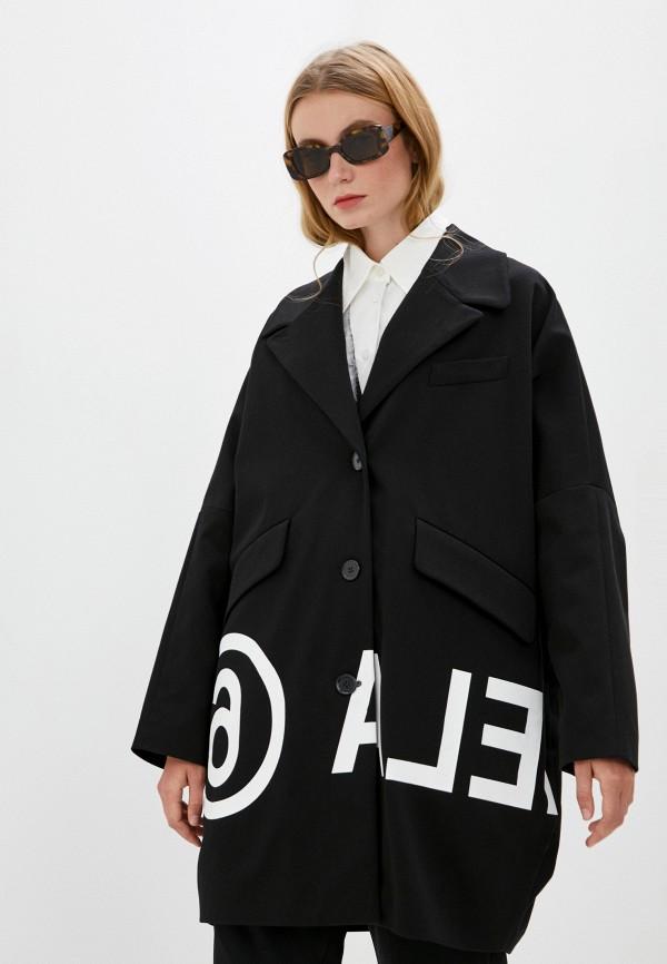 женское пальто mm6 maison margiela, черное