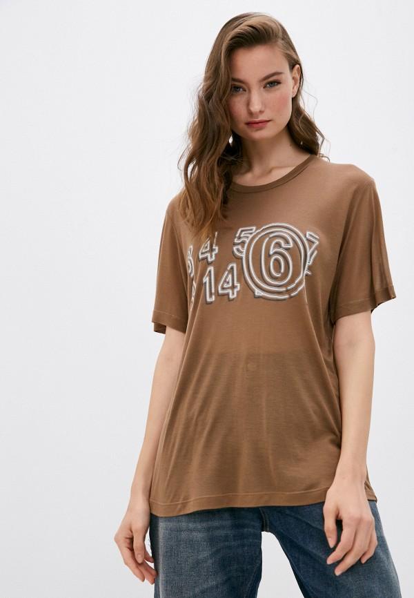 женская футболка mm6 maison margiela, коричневая