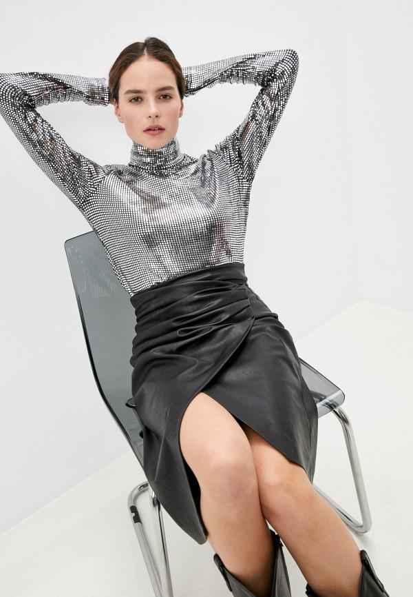женская блузка mm6 maison margiela, серебряная