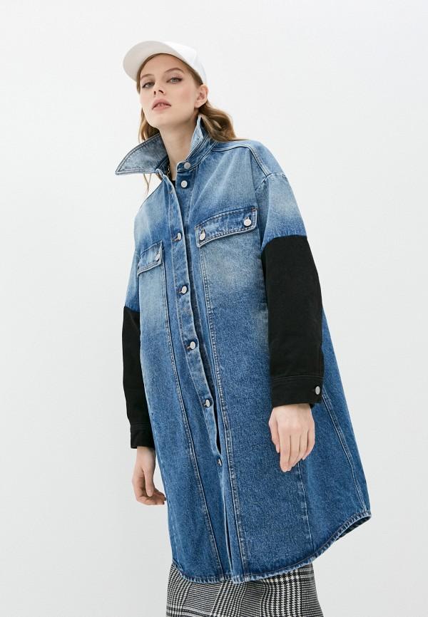 женская джинсовые куртка mm6 maison margiela, синяя