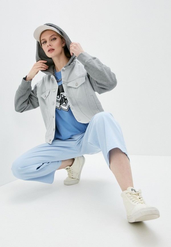 женская джинсовые куртка mm6 maison margiela, серая