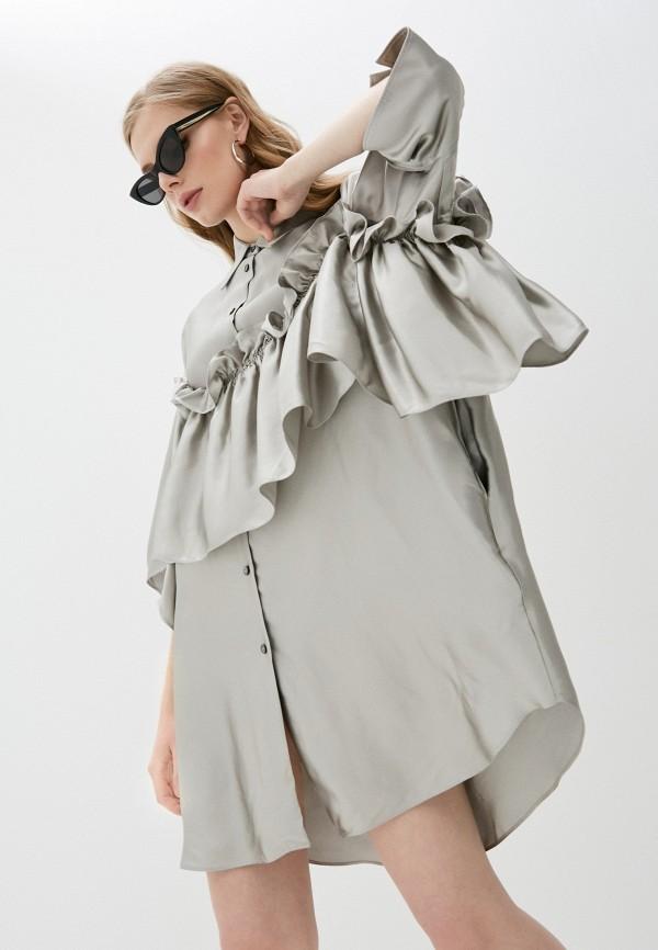 женское платье mm6 maison margiela, серебряное