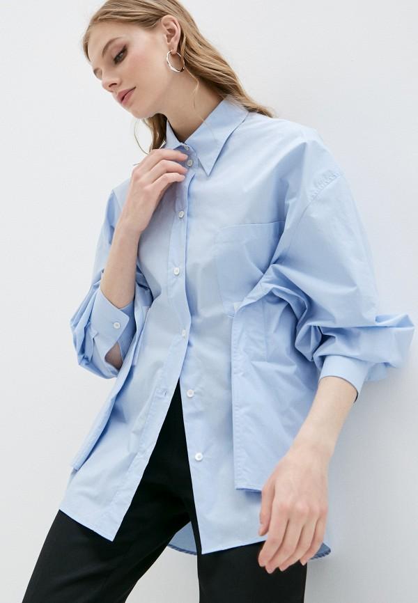 женская рубашка с длинным рукавом mm6 maison margiela, голубая