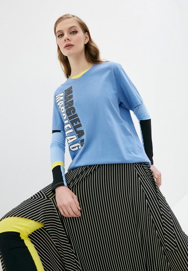 женская футболка mm6 maison margiela, голубая