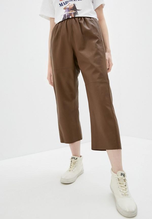 женские брюки mm6 maison margiela, коричневые