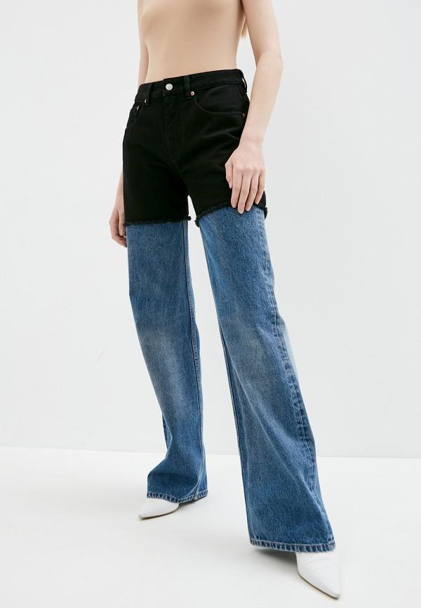 женские джинсы клеш mm6 maison margiela, синие