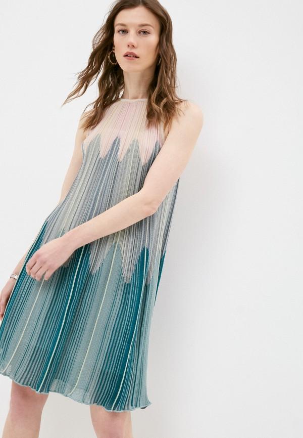 женское повседневные платье m missoni, бирюзовое