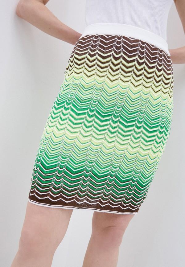 женская зауженные юбка m missoni, зеленая