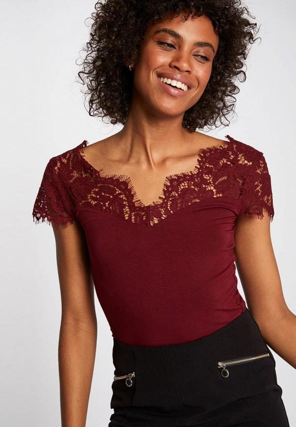 женская футболка morgan, бордовая