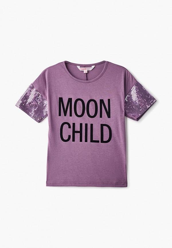 футболка с коротким рукавом modis для девочки, фиолетовая