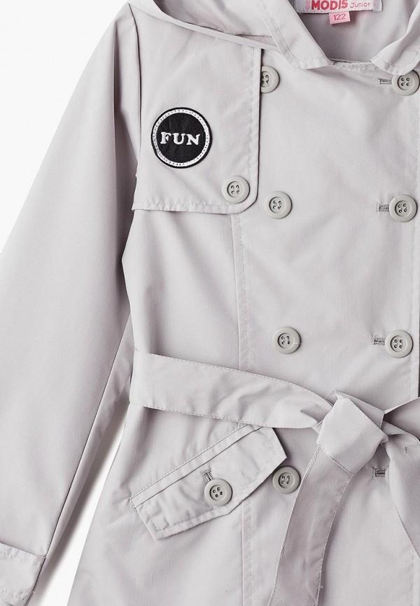 Фото 3 - пальто или плащ для девочки Modis серого цвета